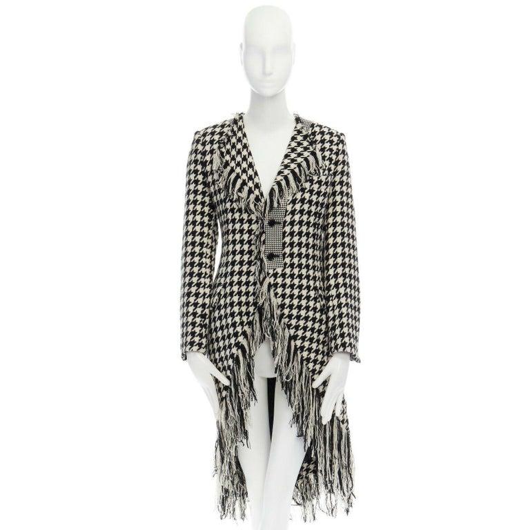 Gray runway YOHJI YAMAMOTO AW2003 black white houndstooth wool fringe jacket coat JP2 For Sale
