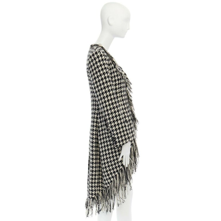 runway YOHJI YAMAMOTO AW2003 black white houndstooth wool fringe jacket coat JP2 In Excellent Condition For Sale In Hong Kong, NT