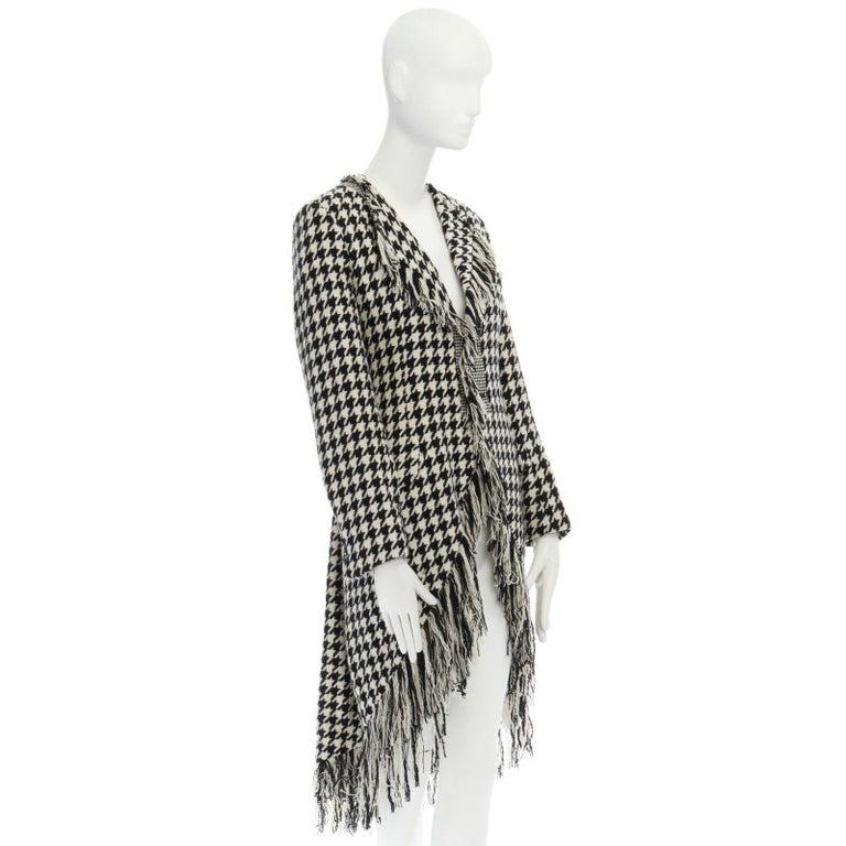 Women's runway YOHJI YAMAMOTO AW2003 black white houndstooth wool fringe jacket coat JP2 For Sale