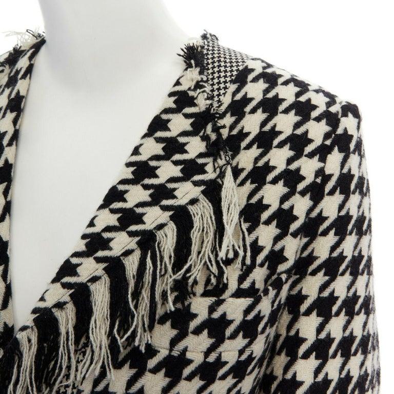 runway YOHJI YAMAMOTO AW2003 black white houndstooth wool fringe jacket coat JP2 For Sale 2