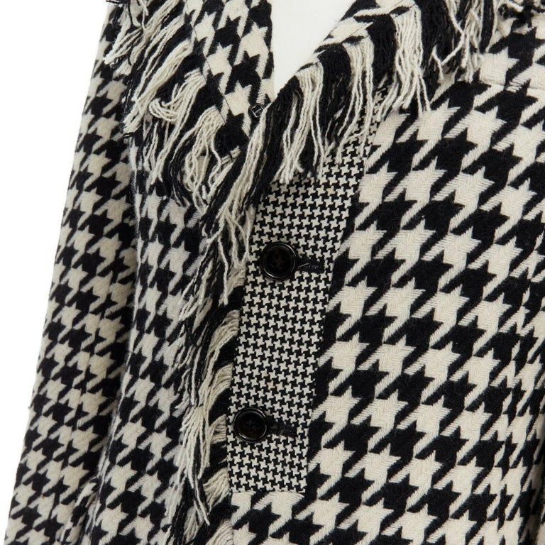 runway YOHJI YAMAMOTO AW2003 black white houndstooth wool fringe jacket coat JP2 For Sale 3