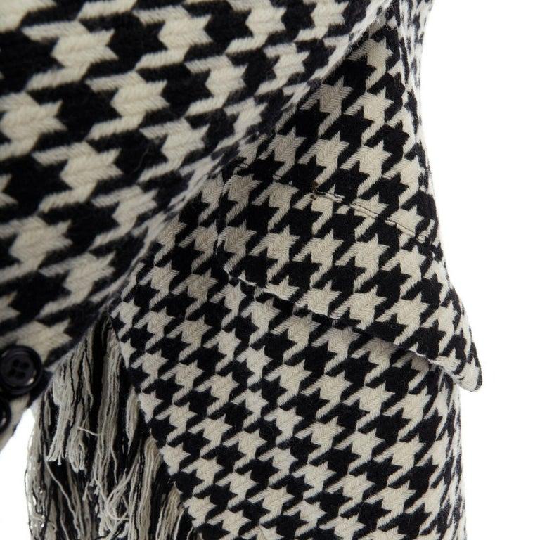 runway YOHJI YAMAMOTO AW2003 black white houndstooth wool fringe jacket coat JP2 For Sale 4