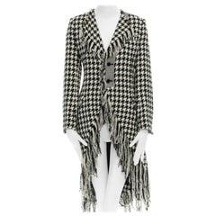 runway YOHJI YAMAMOTO AW2003 black white houndstooth wool fringe jacket coat JP2