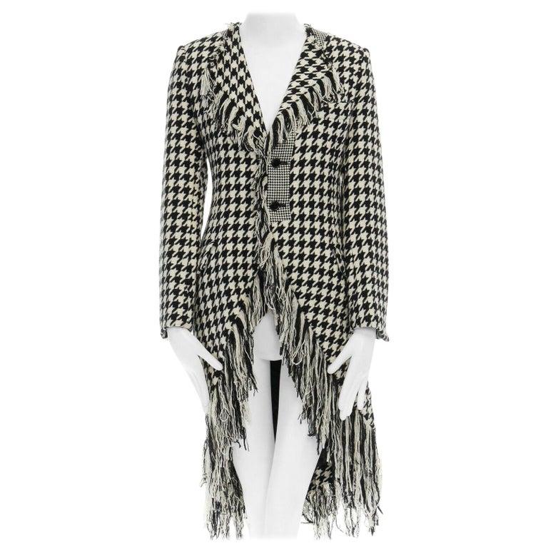 runway YOHJI YAMAMOTO AW2003 black white houndstooth wool fringe jacket coat JP2 For Sale
