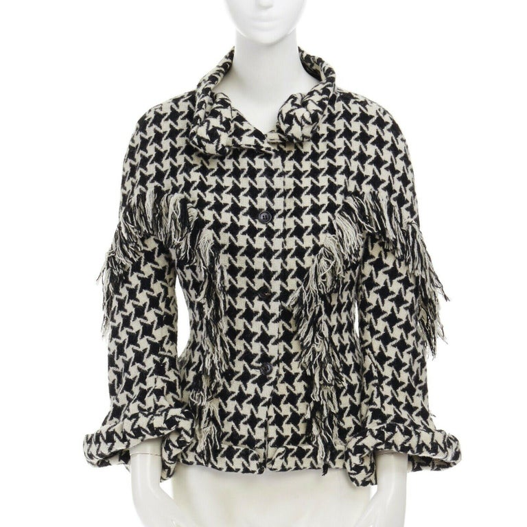 runway YOHJI YAMAMOTO AW2003 houndstooth fringe trimmed rolled cuff jacket JP2 M In Excellent Condition For Sale In Hong Kong, NT