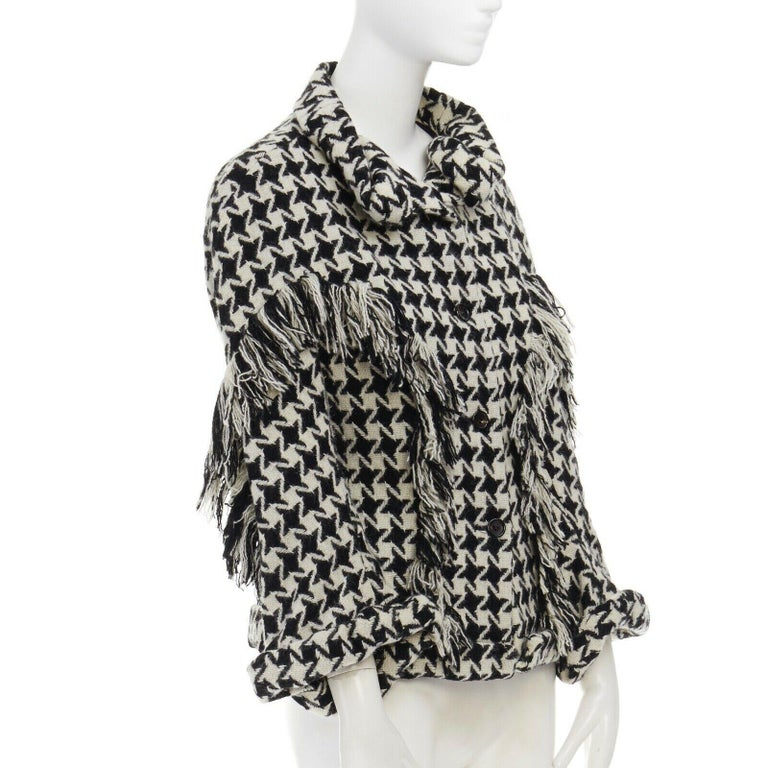 Women's runway YOHJI YAMAMOTO AW2003 houndstooth fringe trimmed rolled cuff jacket JP2 M For Sale
