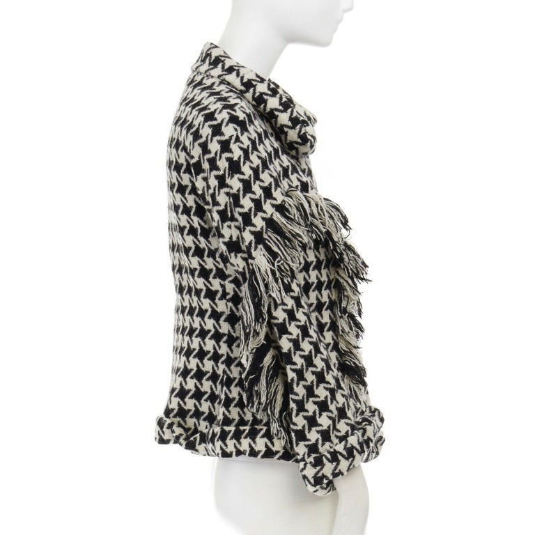 runway YOHJI YAMAMOTO AW2003 houndstooth fringe trimmed rolled cuff jacket JP2 M For Sale 1