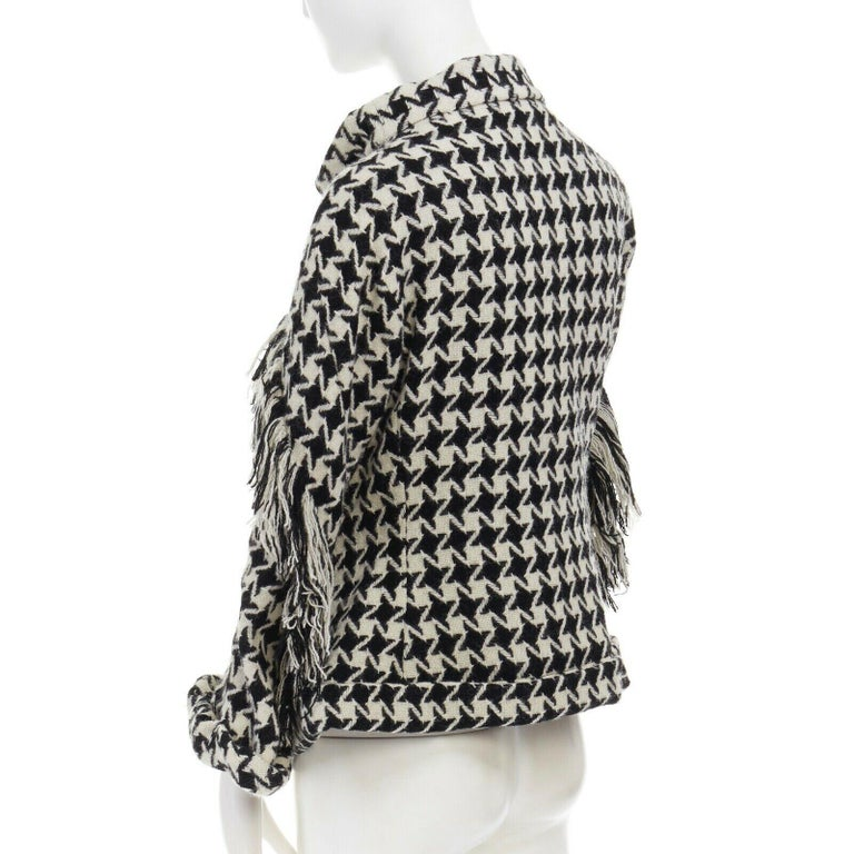 runway YOHJI YAMAMOTO AW2003 houndstooth fringe trimmed rolled cuff jacket JP2 M For Sale 2