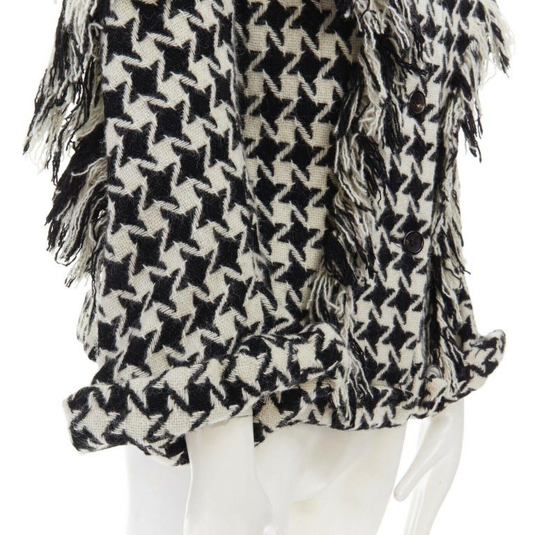runway YOHJI YAMAMOTO AW2003 houndstooth fringe trimmed rolled cuff jacket JP2 M For Sale 4
