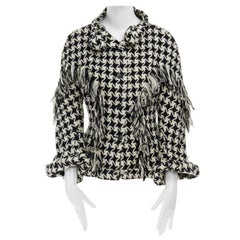 runway YOHJI YAMAMOTO AW2003 houndstooth fringe trimmed rolled cuff jacket JP2 M