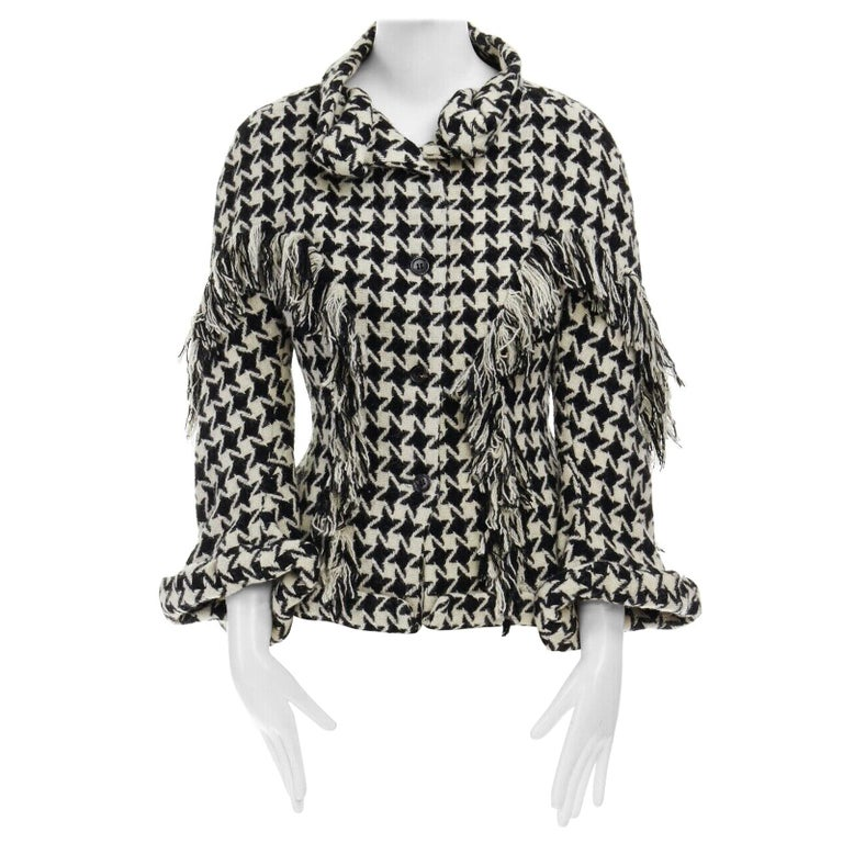 runway YOHJI YAMAMOTO AW2003 houndstooth fringe trimmed rolled cuff jacket JP2 M For Sale
