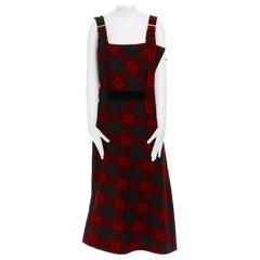 runway YOHJI YAMAMOTO AW2003 red plaid grunge tartan dungaree dress JP1 US4 S