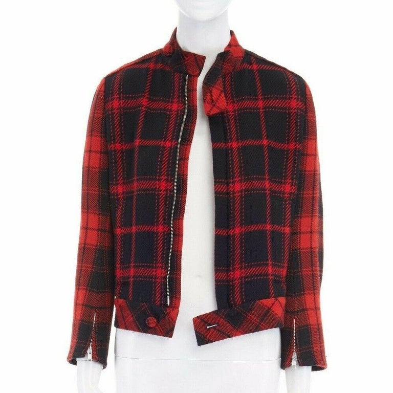 runway YOHJI YAMAMOTO AW2003 red punk plaid tartan zip wool jacket JP1 US4 S In Excellent Condition For Sale In Hong Kong, NT