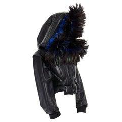 runway YOHJI YAMAMOTO AW91 black padded leather oversized feather hood down M