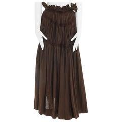 "runway YOHJI YAMAMOTO brown cotton ribbon bonded pleated midi skirt JP2 M 25"""