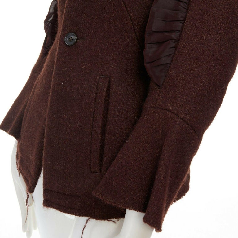runway YOHJI YAMAMOTO brown wool blend cotton insert sleeves fitted jacket S For Sale 5