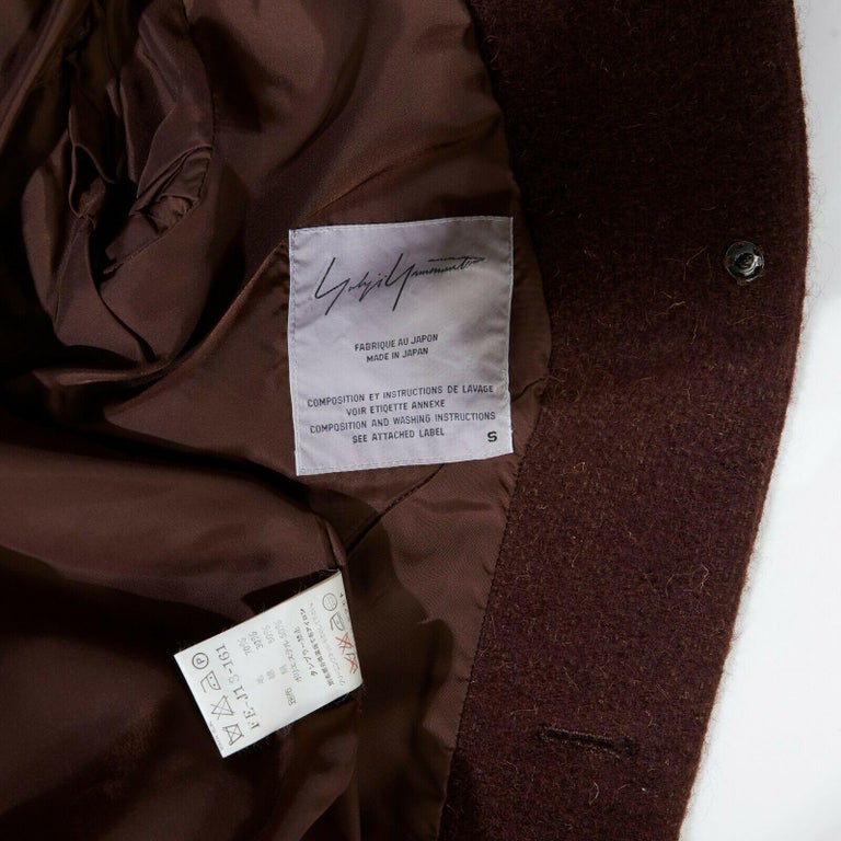 runway YOHJI YAMAMOTO brown wool blend cotton insert sleeves fitted jacket S For Sale 6