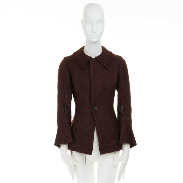 Black runway YOHJI YAMAMOTO brown wool blend cotton insert sleeves fitted jacket S For Sale