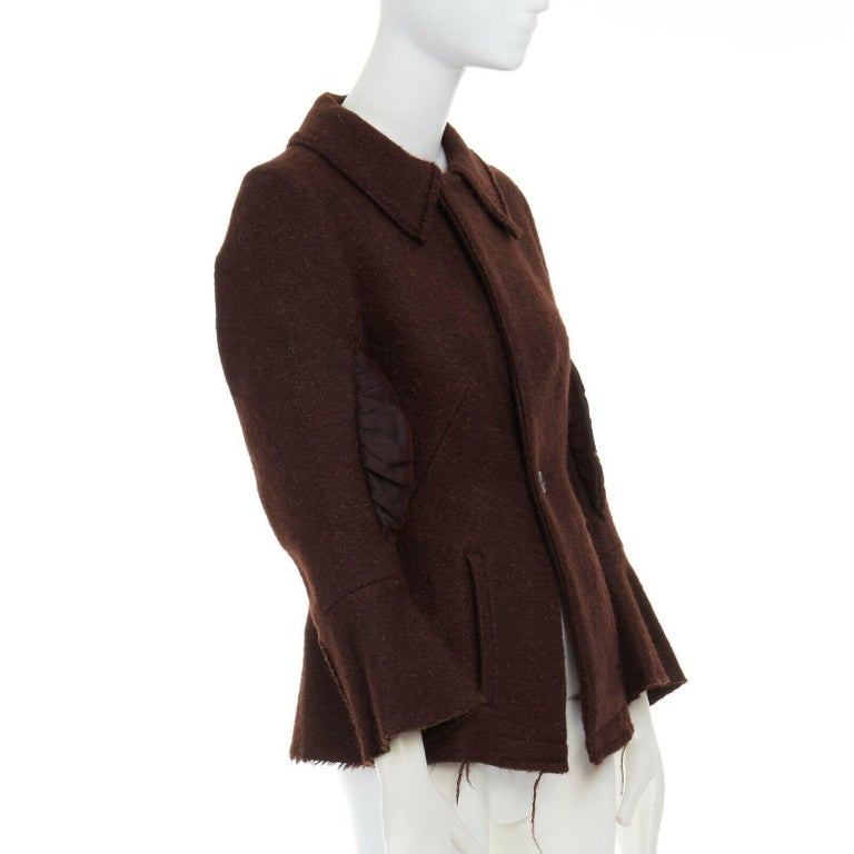runway YOHJI YAMAMOTO brown wool blend cotton insert sleeves fitted jacket S In Excellent Condition For Sale In Hong Kong, NT
