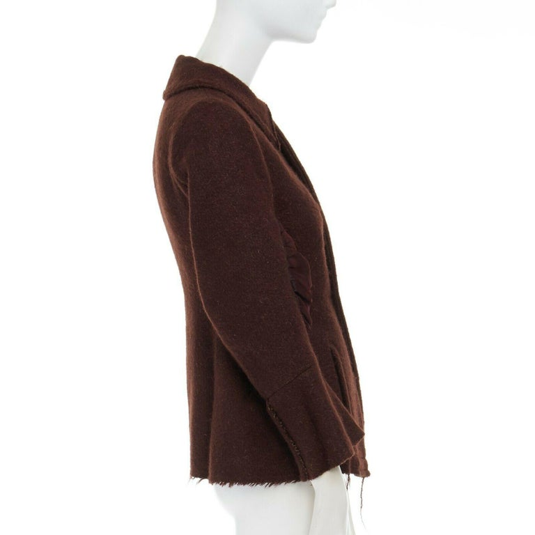 Women's runway YOHJI YAMAMOTO brown wool blend cotton insert sleeves fitted jacket S For Sale