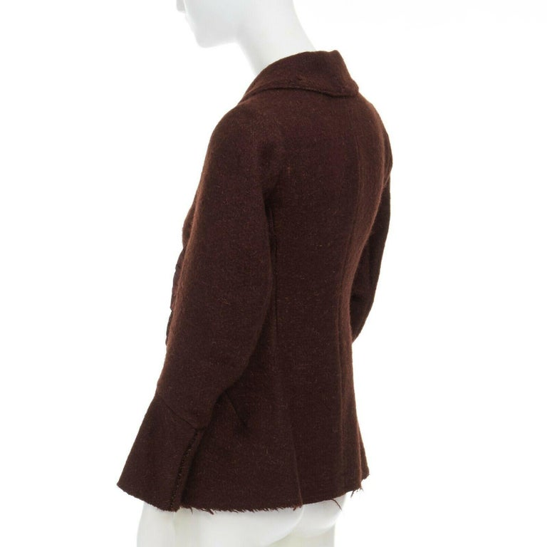runway YOHJI YAMAMOTO brown wool blend cotton insert sleeves fitted jacket S For Sale 2