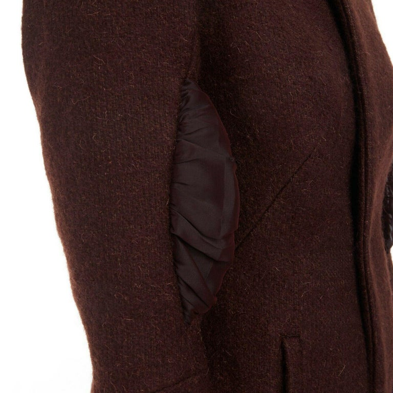 runway YOHJI YAMAMOTO brown wool blend cotton insert sleeves fitted jacket S For Sale 3