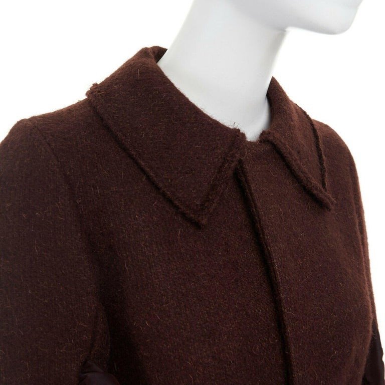 runway YOHJI YAMAMOTO brown wool blend cotton insert sleeves fitted jacket S For Sale 4