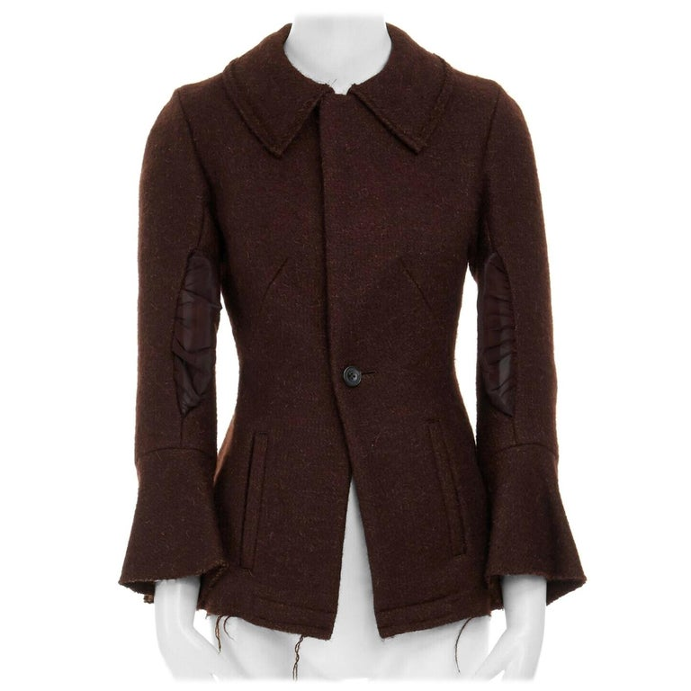 runway YOHJI YAMAMOTO brown wool blend cotton insert sleeves fitted jacket S For Sale