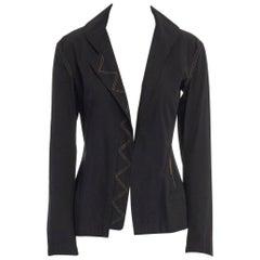 runway YOHJI YAMAMOTO SS08 black cotton contrast stitch casual jacket JP1 S