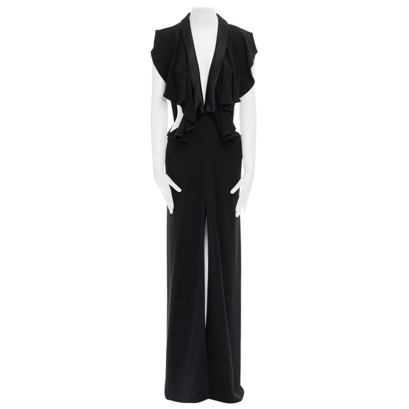 runway YVES SAINT LAURENT PILATI black tuxedo ruffle cut out dress gown FR36
