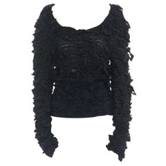 runway YVES SAINT LAURENT TOM FORD AW01 black bow ribbon scoop neck sweater S