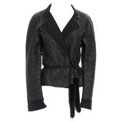runway YVES SAINT LAURENT TOM FORD black oriental mink belt leather jacket L