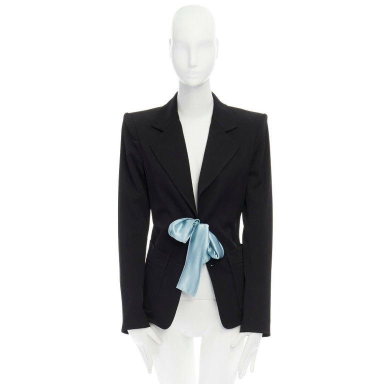 Black runway YVES SAINT LAURENT TOM FORD black tie padded shoulder blazer FR38 M For Sale