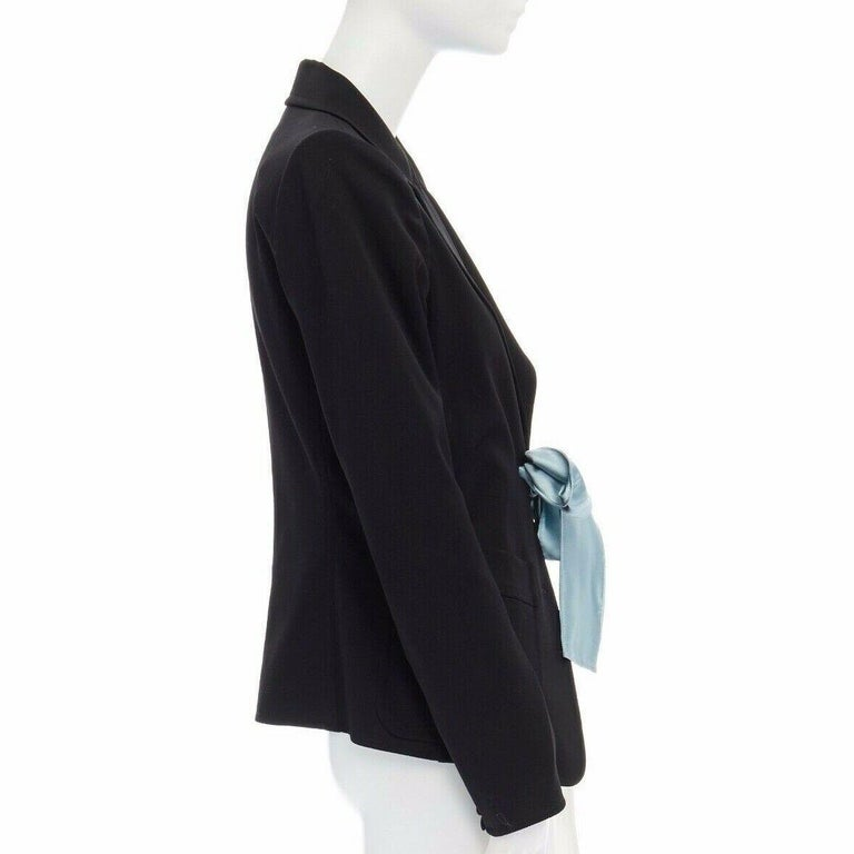 Women's runway YVES SAINT LAURENT TOM FORD black tie padded shoulder blazer FR38 M For Sale