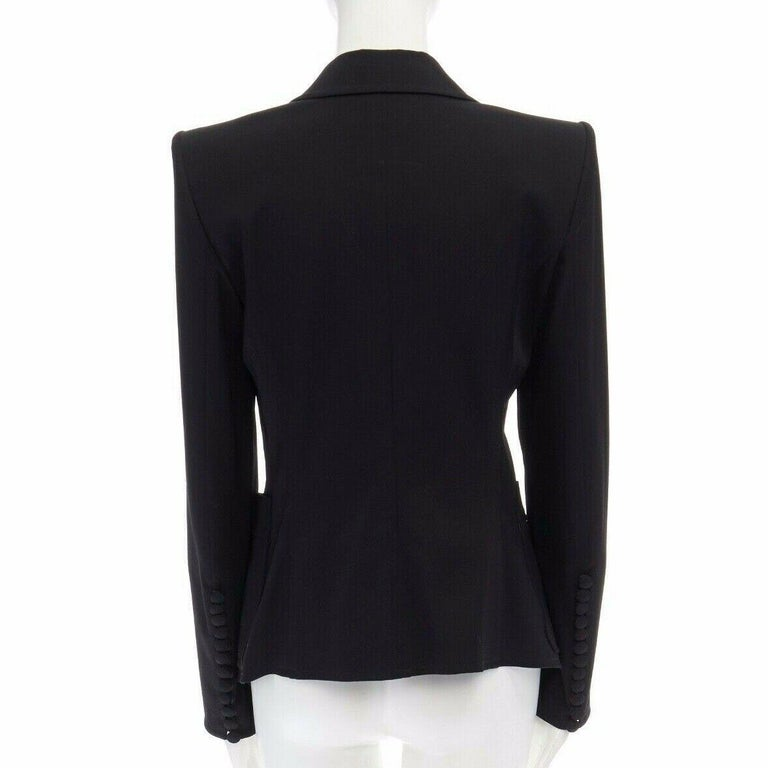 runway YVES SAINT LAURENT TOM FORD black tie padded shoulder blazer FR38 M For Sale 1