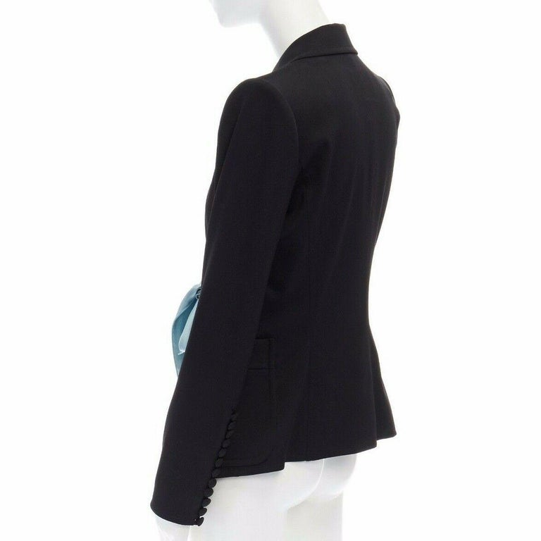 runway YVES SAINT LAURENT TOM FORD black tie padded shoulder blazer FR38 M For Sale 3
