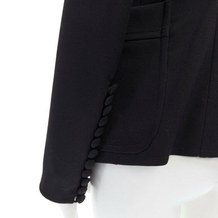 runway YVES SAINT LAURENT TOM FORD black tie padded shoulder blazer FR38 M For Sale 4