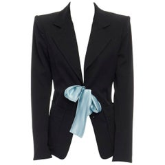 runway YVES SAINT LAURENT TOM FORD black tie padded shoulder blazer FR38 M