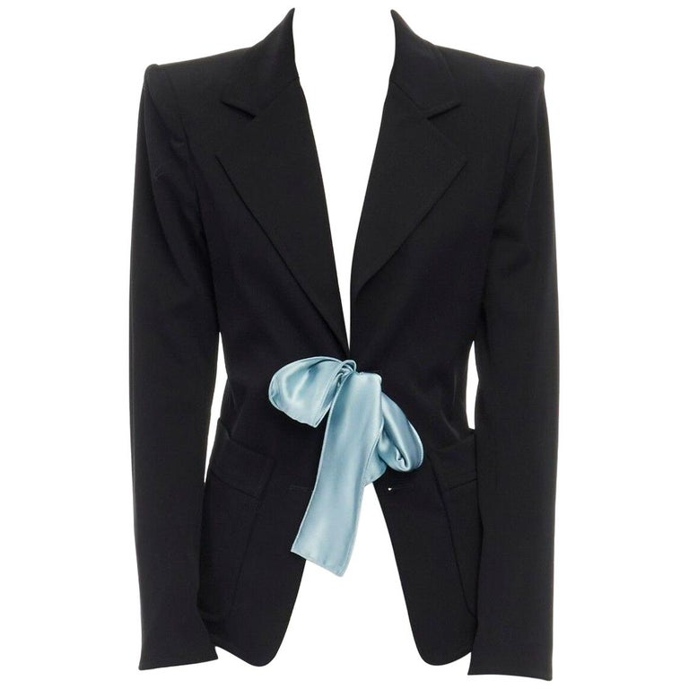 runway YVES SAINT LAURENT TOM FORD black tie padded shoulder blazer FR38 M For Sale