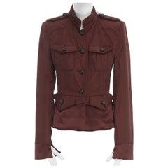 runway YVES SAINT LAURENT TOM FORD red padded silk hem military jacket FR38 M