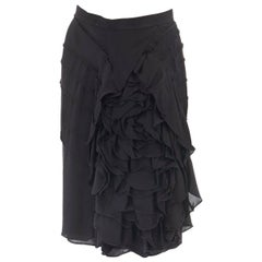 runway YVES SAINT LAURENT TOM FORD SS03 black floral ruffle silk skirt FR38