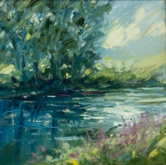 Rupert Aker, Beside the Windrush, Cotswolds Landscape Art, Original Painting