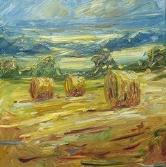 Rupert Aker, Big Bales, August, Landscape Art, Cotswold Painting, Affordable Art