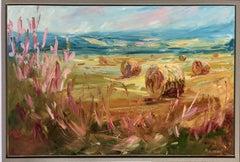 Rupert Aker, Big Bales, Late Summer Original Oil Painting, Textured Paintings