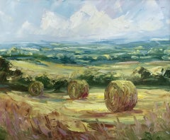 Rupert Aker, Cotswold Big Bales, Original Painting, Landscape Art