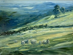 Rupert Aker, Sheep, Miserden, Cotswolds Landscape Art, Impressionist Painting