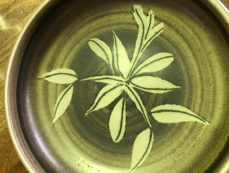 Glazed Rupert Deese Mid-Century Modern California Studio Pottery Ceramic Floral Bowl For Sale