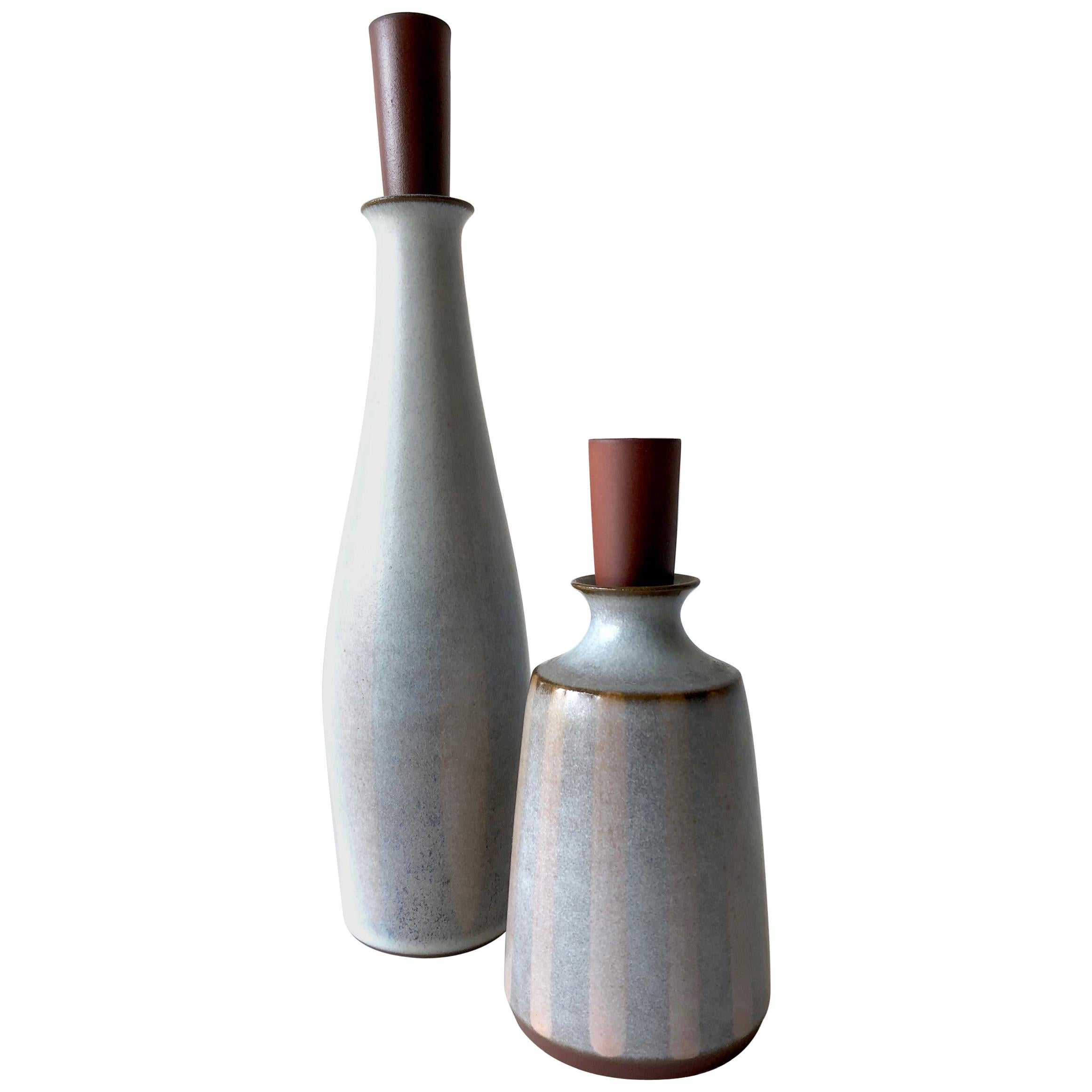 Rupert Deese Stoneware Pair of California Studio Bottle Decanters
