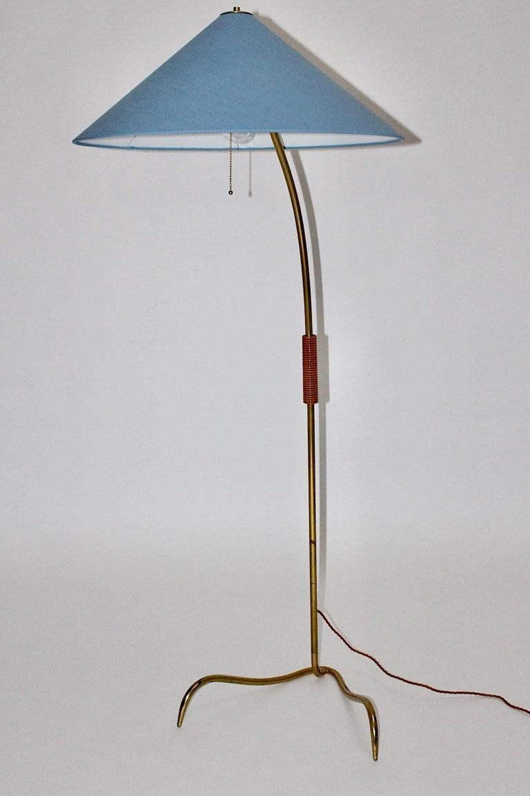 Rupert Nikoll Mid-Century Modern Vintage Brass Clawfoot Floor Lamp, 1950s Vienna For Sale 5