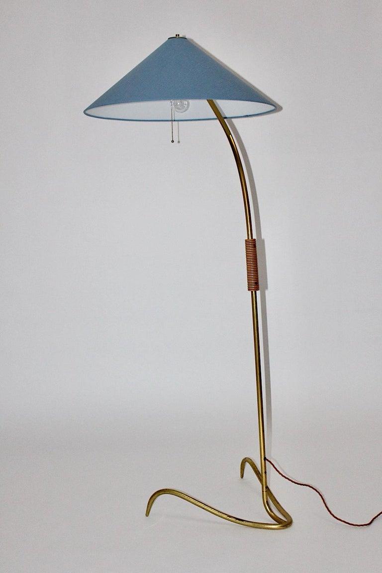 Rupert Nikoll Mid-Century Modern Vintage Brass Clawfoot Floor Lamp, 1950s Vienna For Sale 6